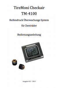 Deutsches Handbuch zum Reifendruckkontrollsystem TM-4100 für Zweirad / Motorrad