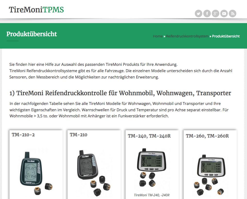 aktualisierte TireMoni Produktübersicht